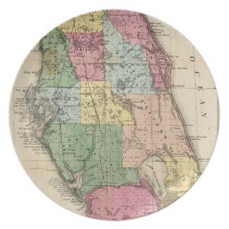 Vintage Map of Florida (1870) Dinner Plate