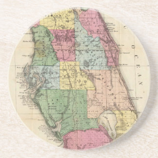 Vintage Map of Florida (1870) Drink Coaster