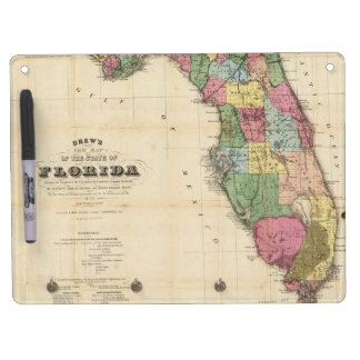 Vintage Map of Florida (1870) Dry Erase Board With Keychain Holder