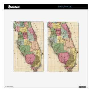 Vintage Map of Florida (1870) Kindle Fire Decal