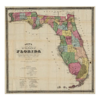 Vintage Map Of Florida Posters Zazzle - Map of the florida