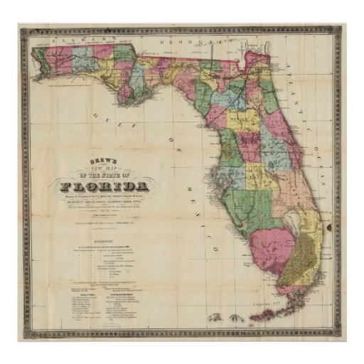Vintage Map of Florida (1870) Poster