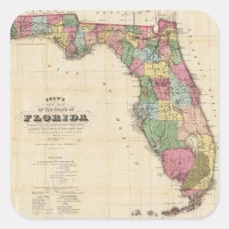 Vintage Map of Florida (1870) Square Sticker