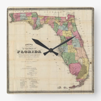 Vintage Map of Florida (1870) Square Wall Clock