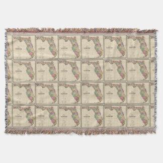 Vintage Map of Florida (1870) Throw Blanket