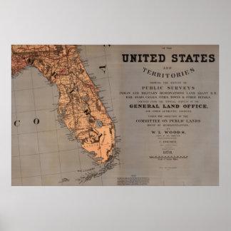 Vintage Map of Florida (1878) Poster