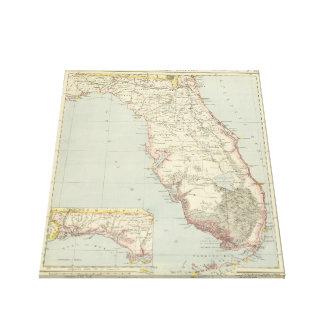 Vintage Map of Florida (1883) 2 Canvas Print