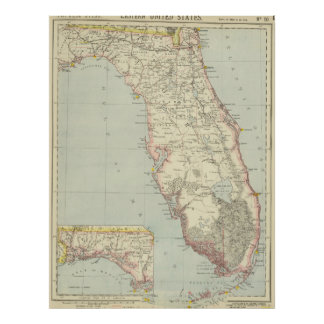 Vintage Map of Florida (1883) 2 Poster