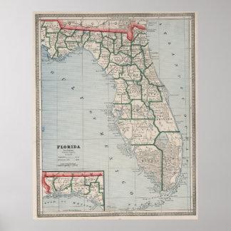 Vintage Map of Florida (1883) Poster
