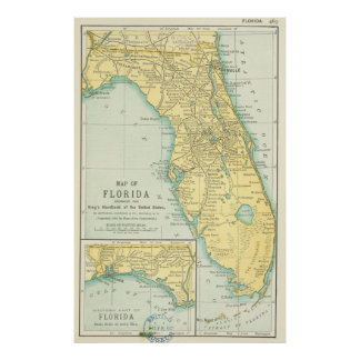 Vintage Map of Florida (1891) Poster