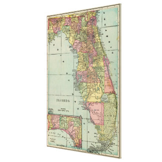 Vintage Map of Florida (1909) Canvas Print