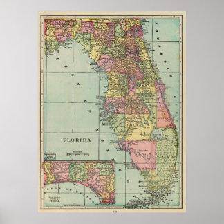 Vintage Map of Florida (1909) Print