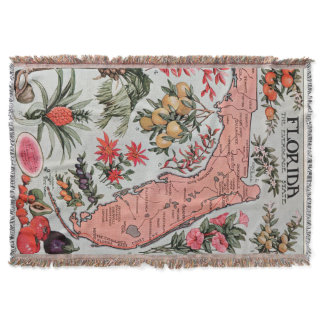 Vintage Map of Florida (1917) Throw Blanket