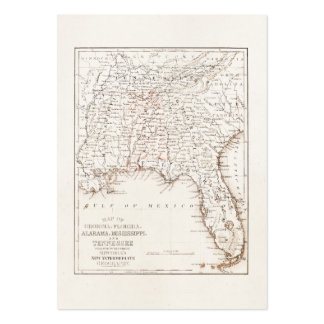Vintage Map of Florida Alabama Georgia Mississippi Large Business Cards (Pack Of 100)