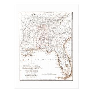 Vintage Map of Florida Alabama Georgia Mississippi Postcard