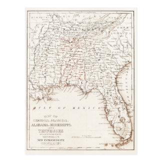 Vintage Map of Florida Alabama Georgia Mississippi Postcard