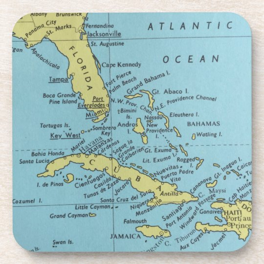Map Of Florida And Cuba.Vintage Map Of Florida And Cuba Coaster Zazzle Com