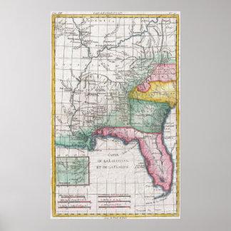 Vintage Map of Florida, Georgia and The Carolinas Poster