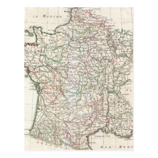Vintage Map of France (1771) Post Card