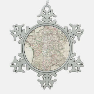 Vintage Map of France (1771) Snowflake Pewter Christmas Ornament