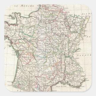 Vintage Map of France (1771) Square Sticker