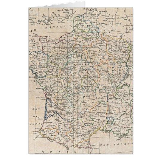 Vintage Map of France (1799) Card