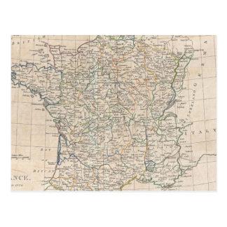Vintage Map of France (1799) Postcard
