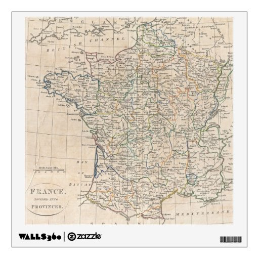 Vintage Map of France (1799) Wall Decals