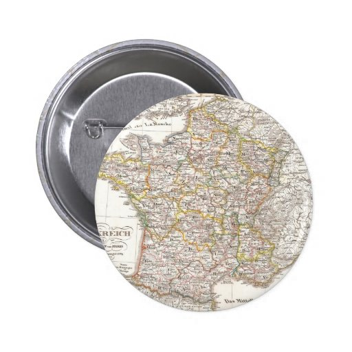 Vintage Map of France (1850) Pinback Buttons