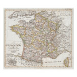 Vintage Map of France (1850) Posters