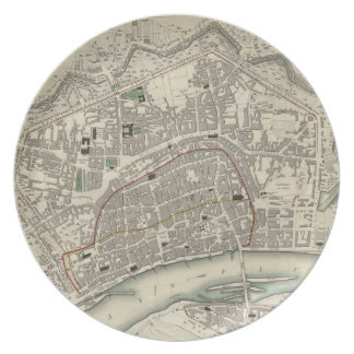 Vintage Map of Frankfurt Germany (1837) Melamine Plate