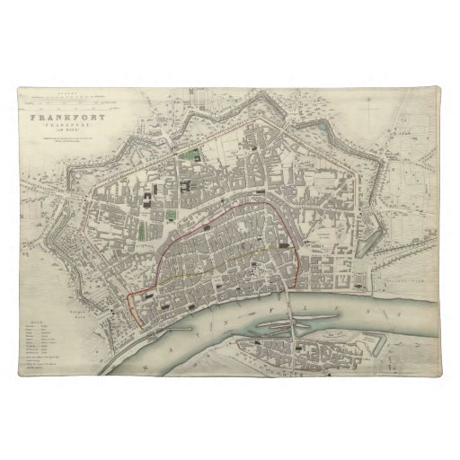 Vintage Map of Frankfurt Germany (1837) Placemat