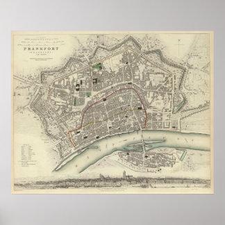 Vintage Map of Frankfurt Germany (1837) Poster