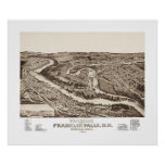 Vintage map of Franklin NH from 1884 Poster