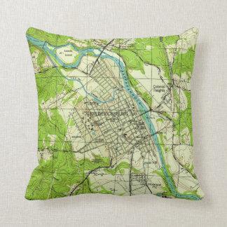Vintage Map of Fredericksburg Virginia (1944) Throw Pillow