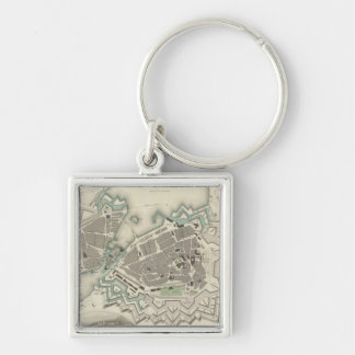 Vintage Map of Geneva (1841) Silver-Colored Square Keychain