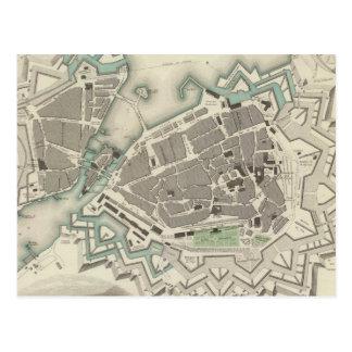 Vintage Map of Geneva (1841) Post Card