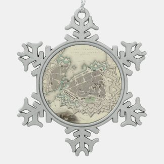 Vintage Map of Geneva (1841) Snowflake Pewter Christmas Ornament