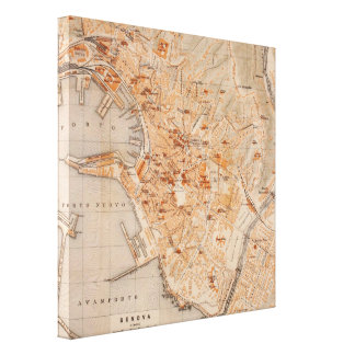 Vintage Map of Genoa Italy (1906) Gallery Wrapped Canvas