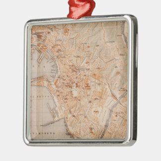 Vintage Map of Genoa Italy (1906) Metal Ornament
