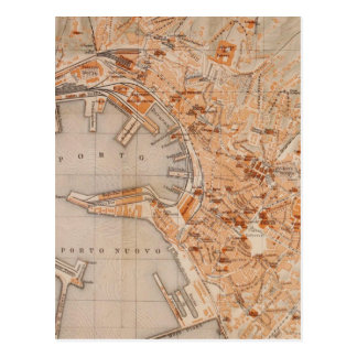 Vintage Map of Genoa Italy (1906) Postcard
