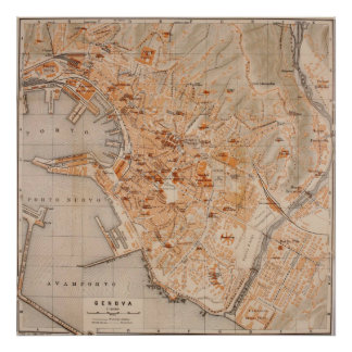 Vintage Map of Genoa Italy (1906) Print