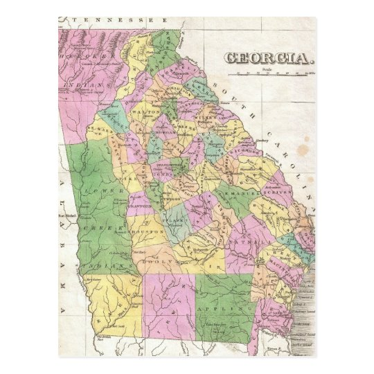 Vintage Map of Georgia (1827) Postcard