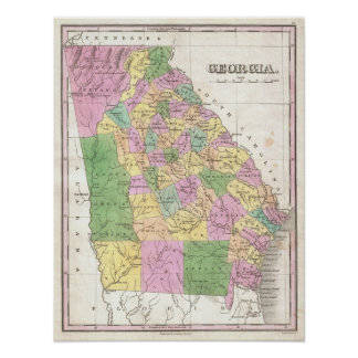 Vintage Map of Georgia (1827) Poster