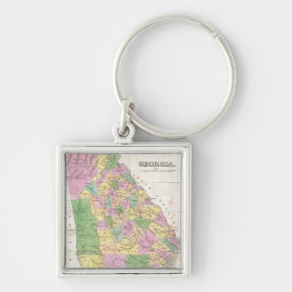 Vintage Map of Georgia (1827) Silver-Colored Square Keychain