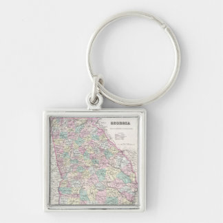 Vintage Map of Georgia (1855) Silver-Colored Square Keychain