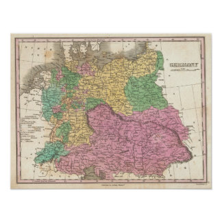 Vintage Map of Germany (1827) Poster