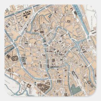 Vintage Map of Ghent Belgium (1905) Square Sticker