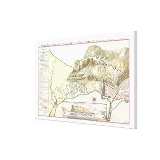 Vintage Map of Gibraltar 1705 Canvas Stretched Canvas Prints