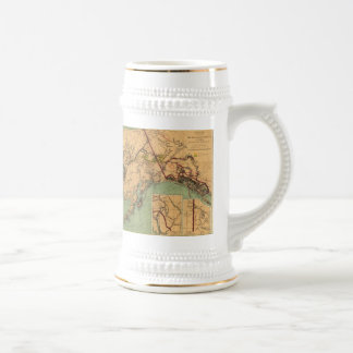 Vintage Map of Gold and Coal in Alaska (1898) Beer Stein